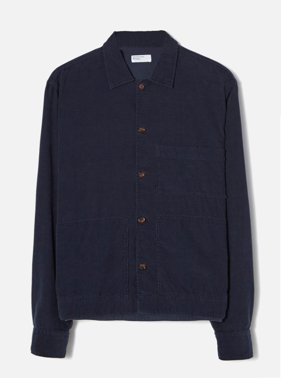Universal Works Uniform Shirt in Navy Fine Cord