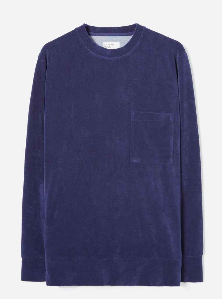 Universal Works Loose Pullover in Navy Terry Fleece
