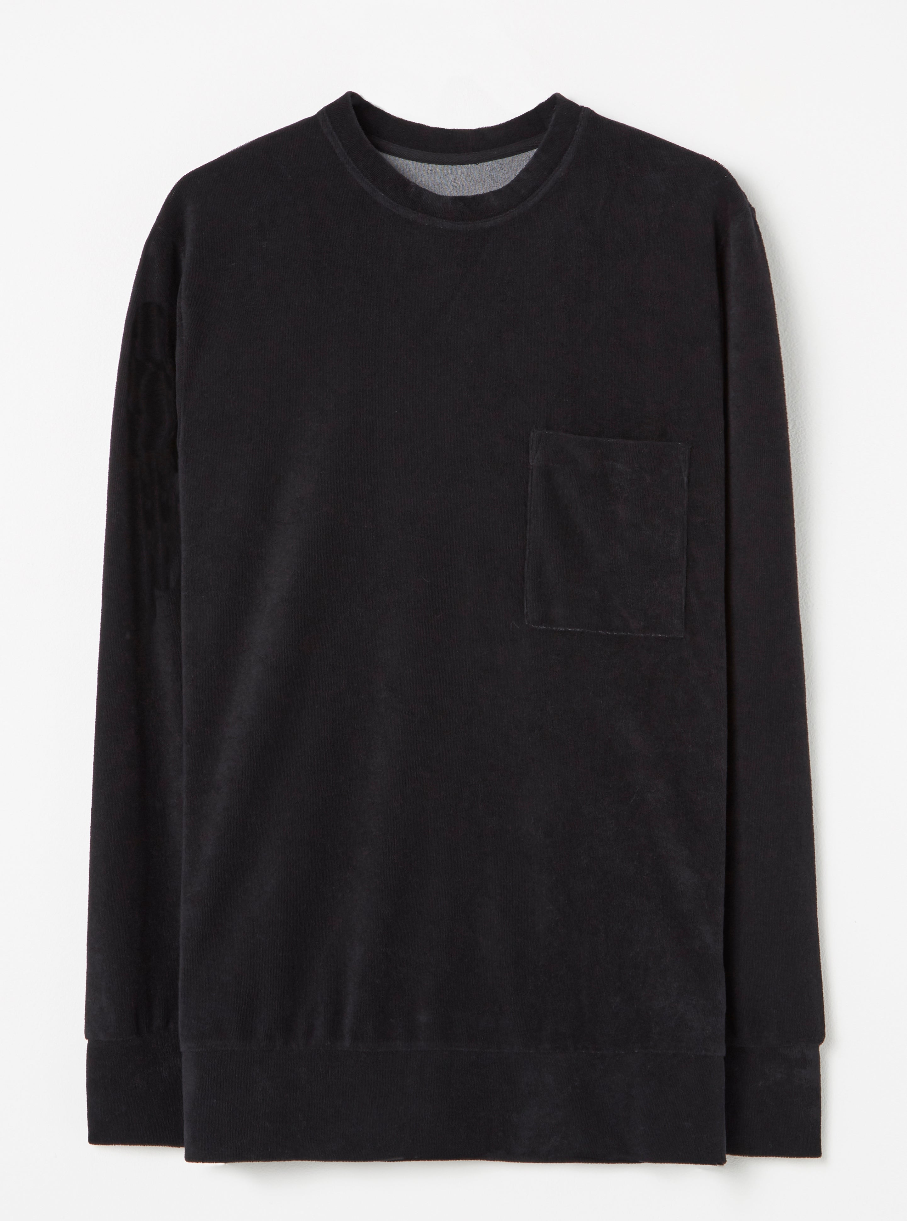 Universal Works Loose Pullover in Black Terry Fleece