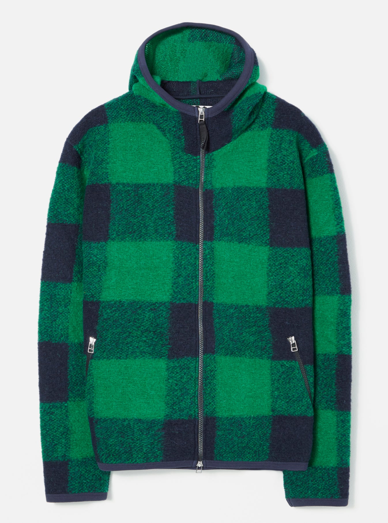 Universal Works Surfer Hoodie in Green Check Wool Fleece