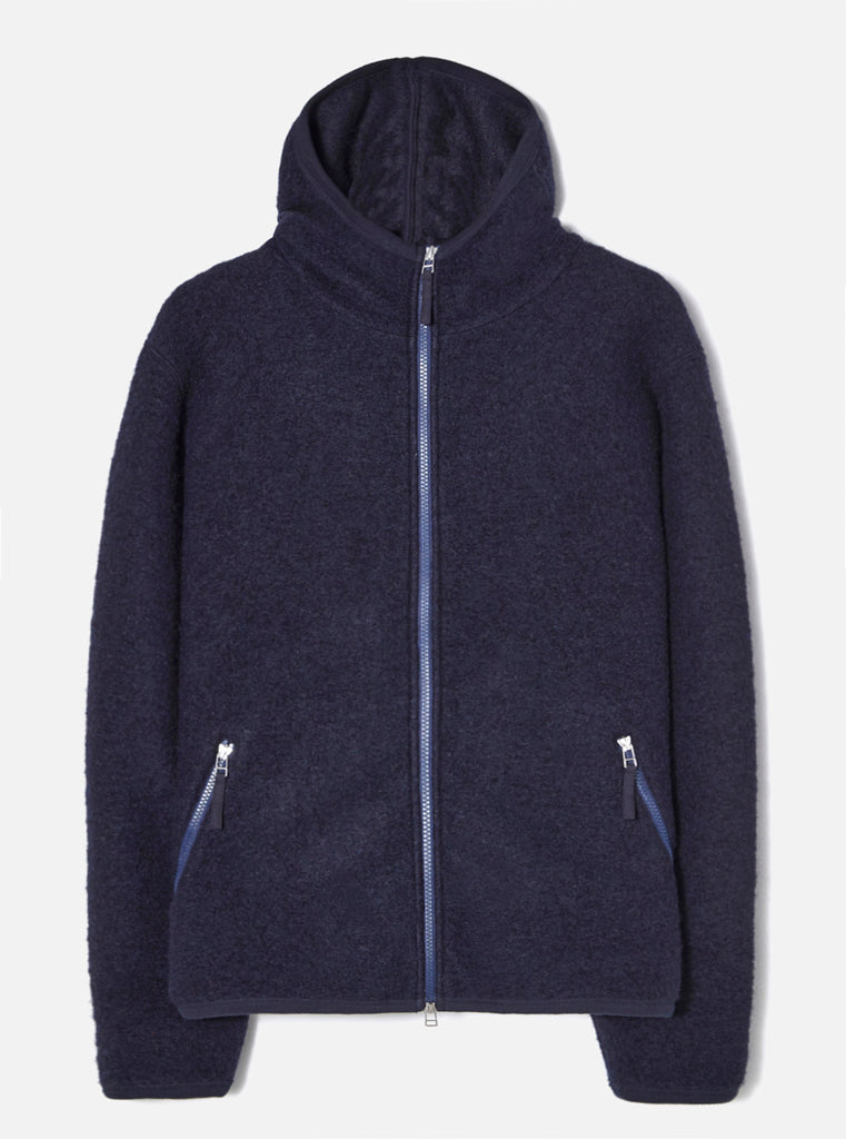 Universal Works Surfer Hoodie in Navy Wool Fleece