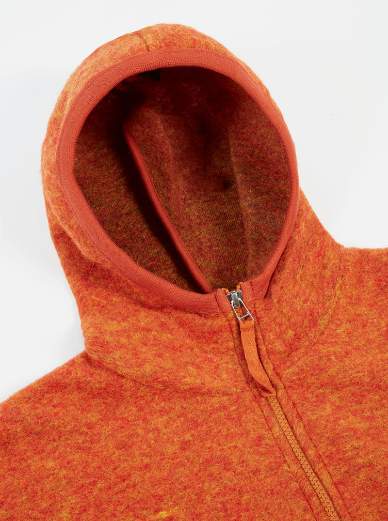 Universal Works Surfer Hoodie in Orange Wool Fleece