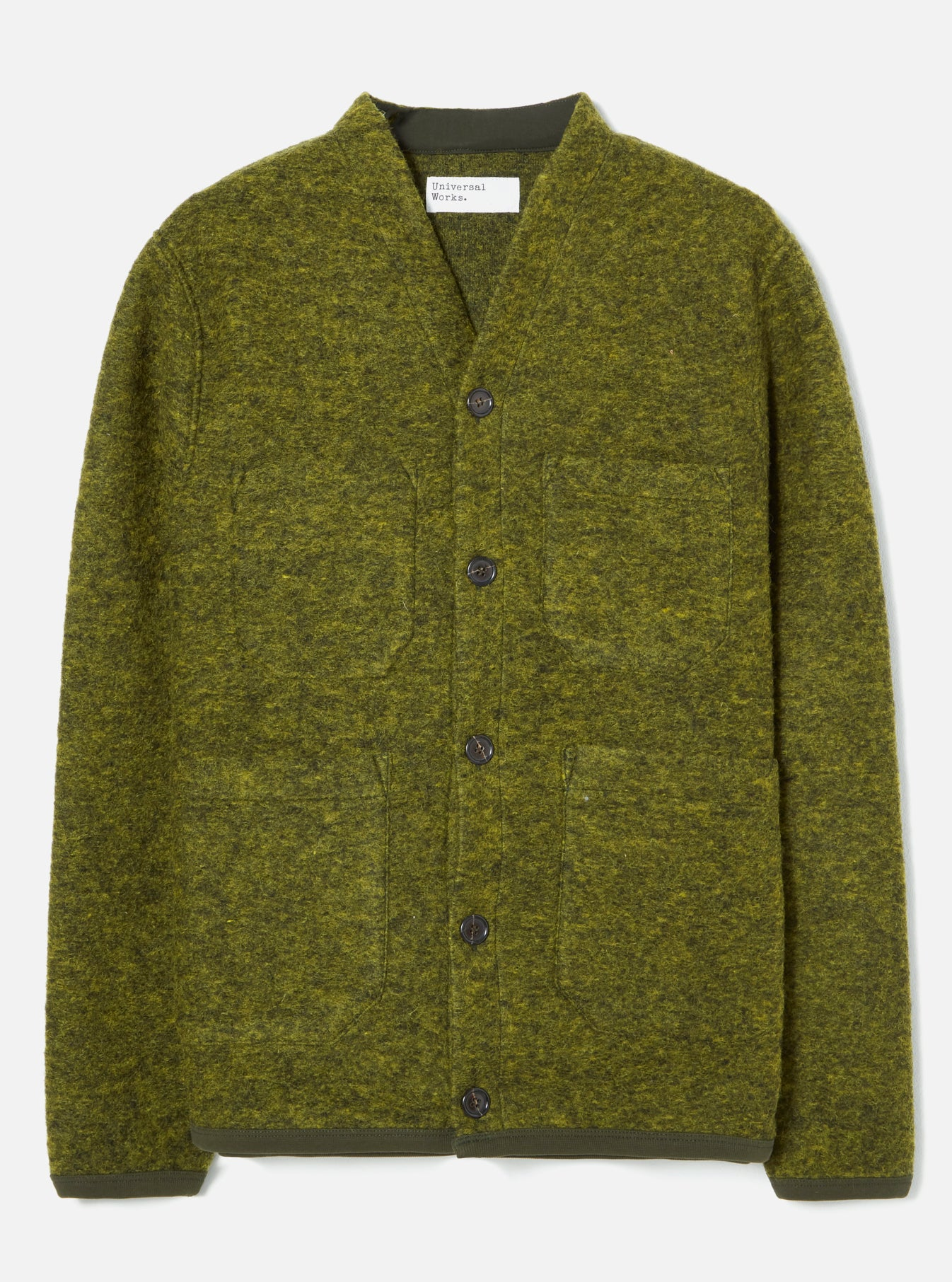 Universal Works Cardigan in Green Wool Fleece