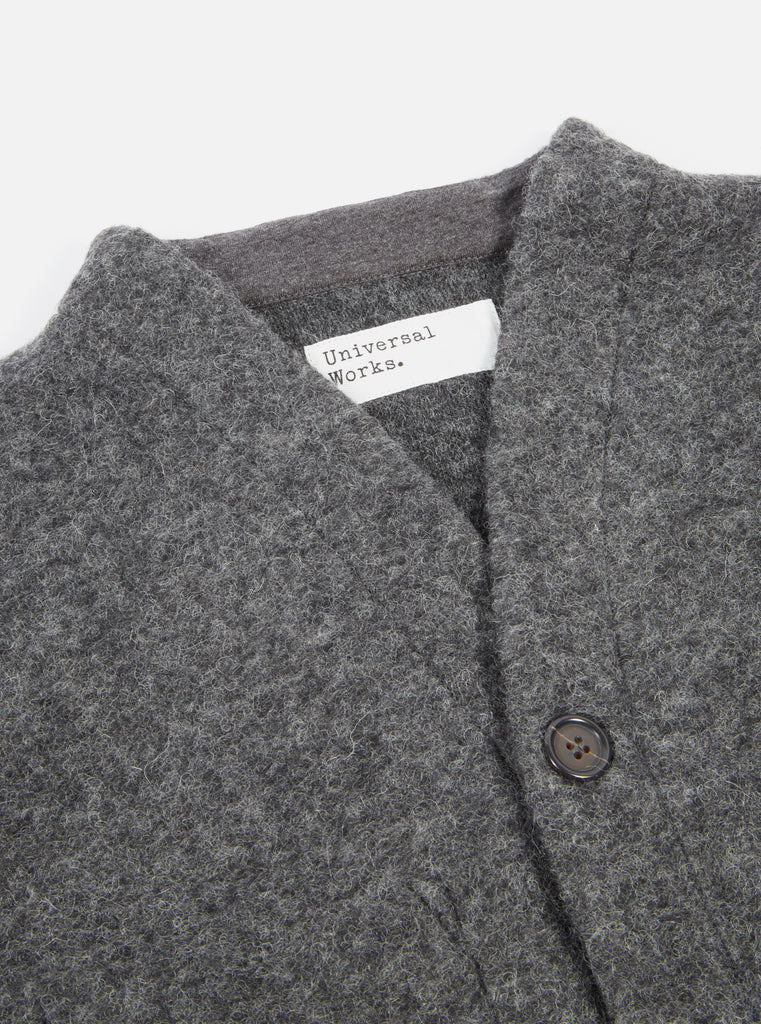 Universal Works Cardigan in Charcoal Wool Fleece