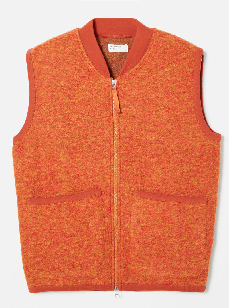 Universal Works Zip Waistcoat in Orange Wool Fleece