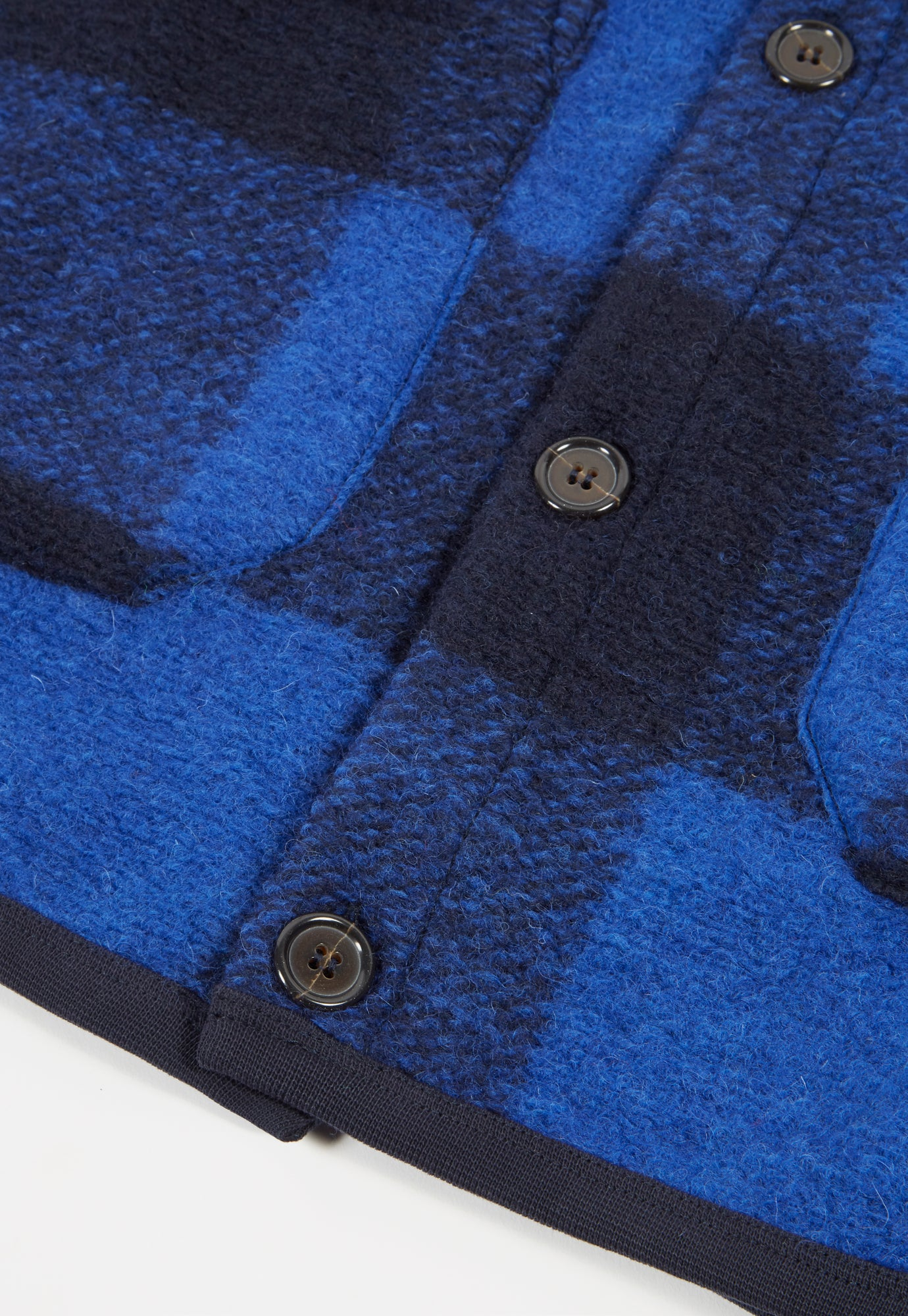 Universal Works Cardigan in Blue Check Wool Fleece