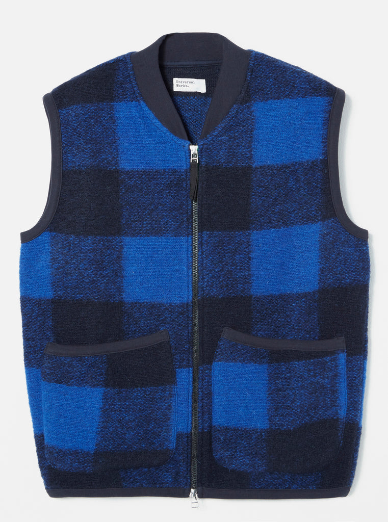 Universal Works Zip Waistcoat in Blue Check Wool Fleece