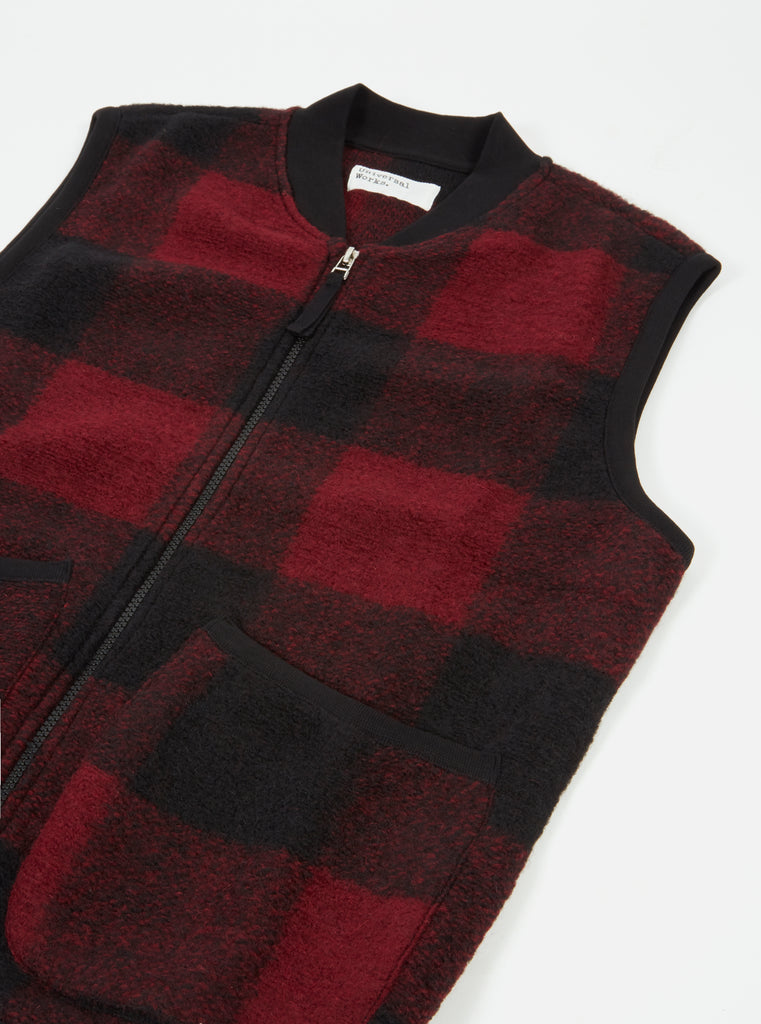 Universal Works Zip Waistcoat in Red Check Wool Fleece