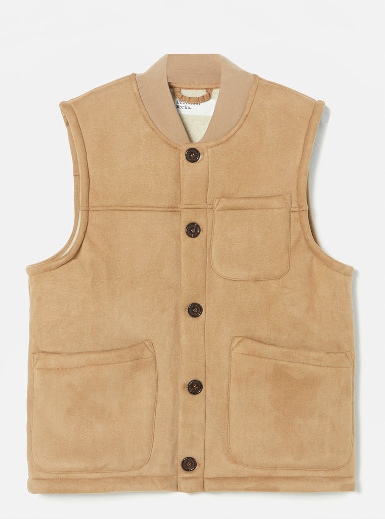 Universal Works Chore Gilet in Sand Faux Shearling