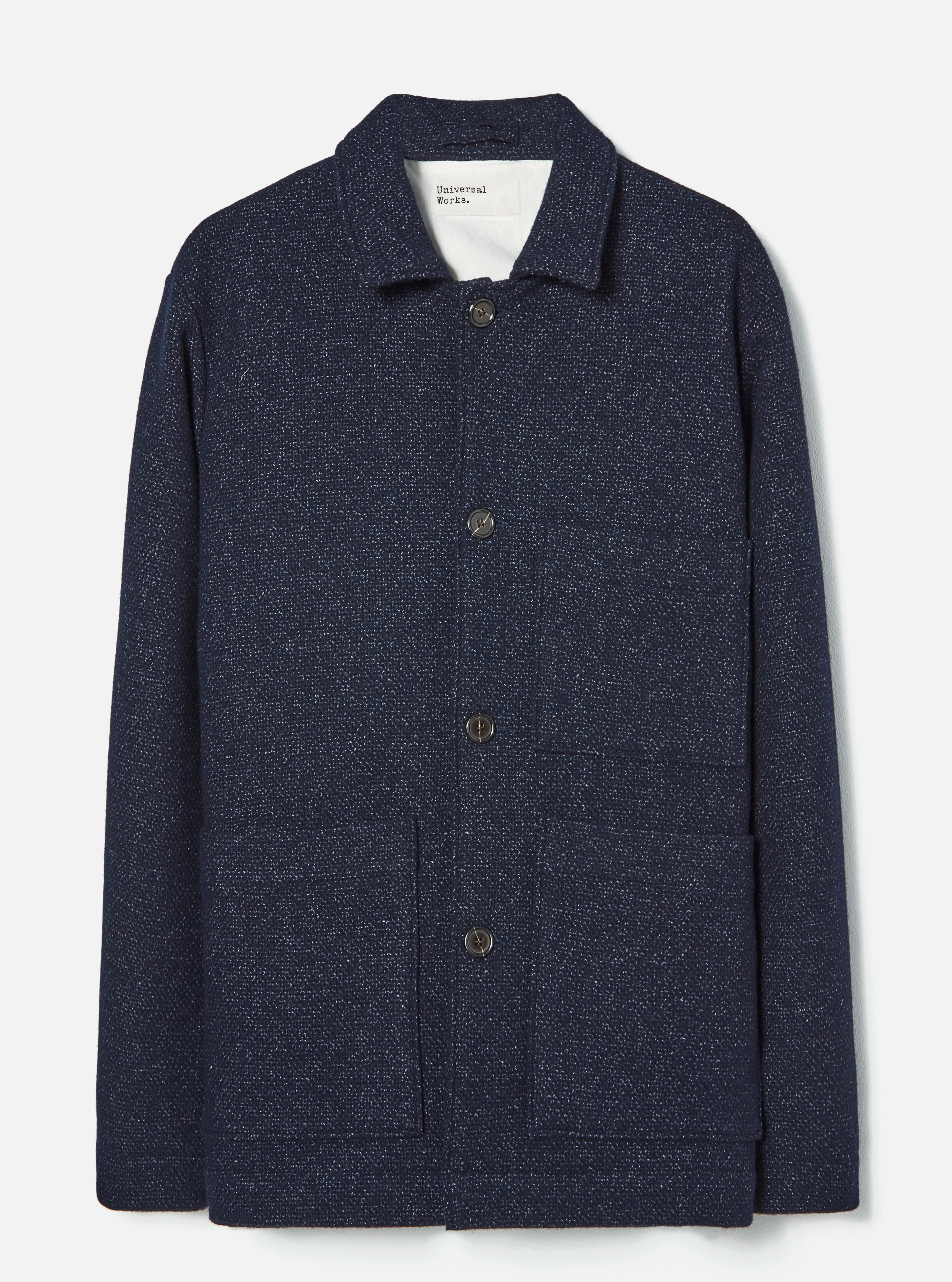 Universal Works Simple Bakers Jacket in Navy Knit Woven