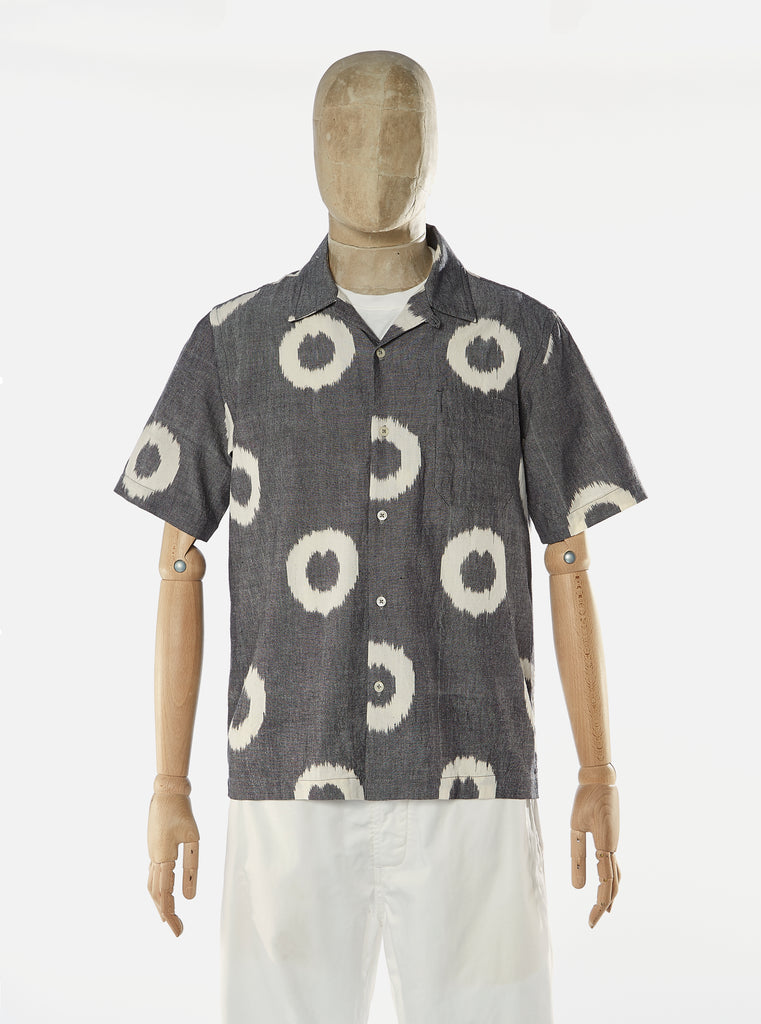 Universal Works Road Shirt in Donut Grey Handloom Ikat
