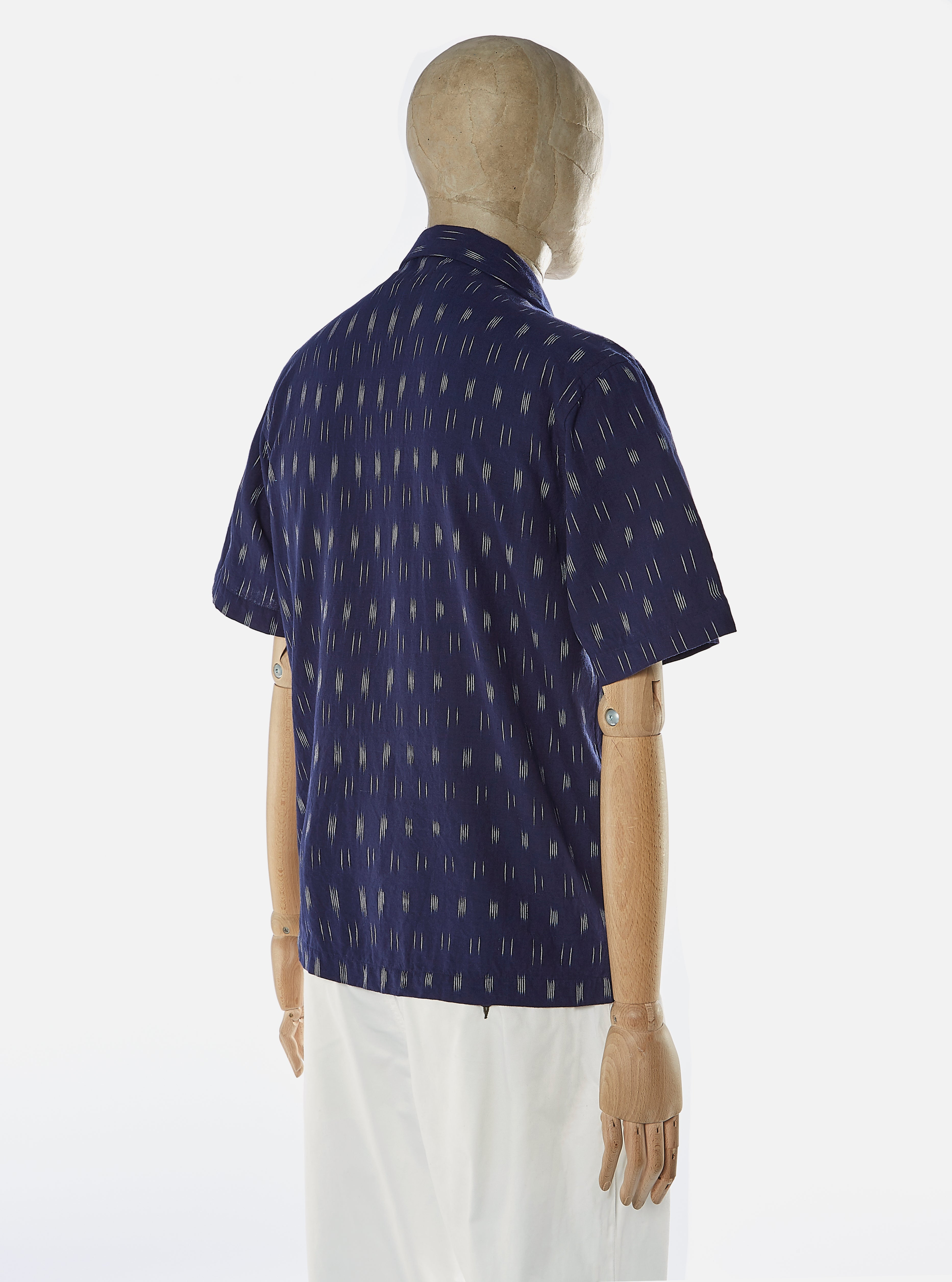 Universal Works Road Shirt in LNS Indigo Handloom Ikat