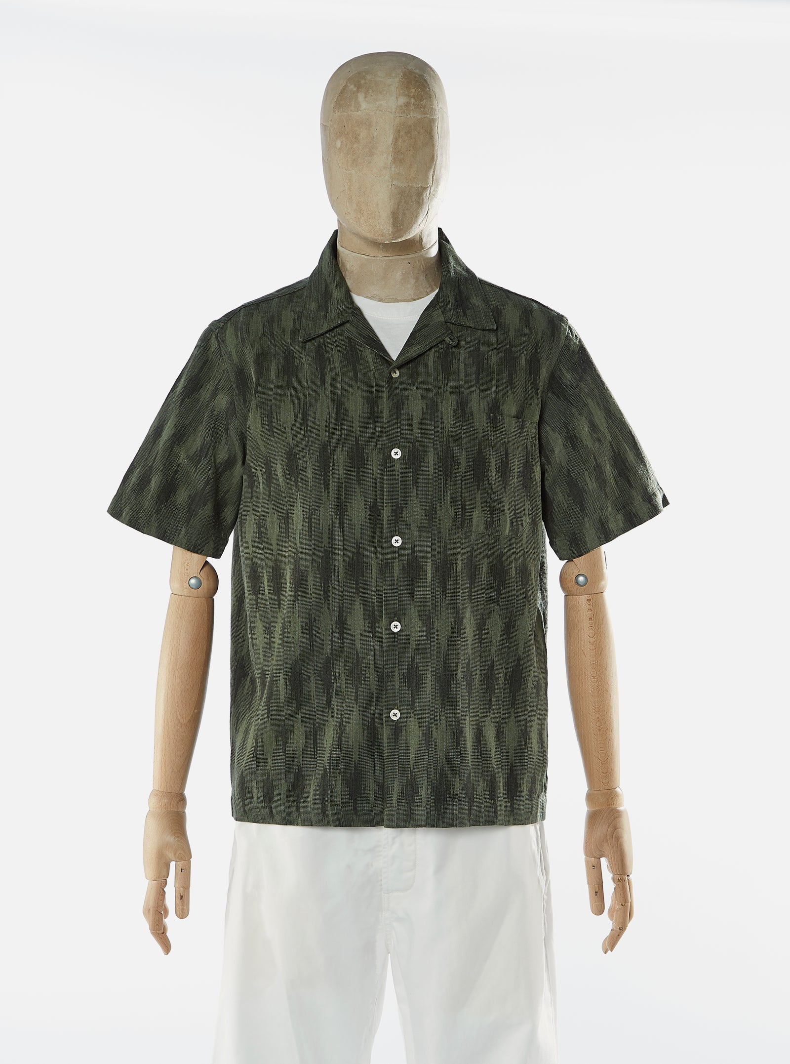 Universal Works Road Shirt in JQ Green Handloom Ikat