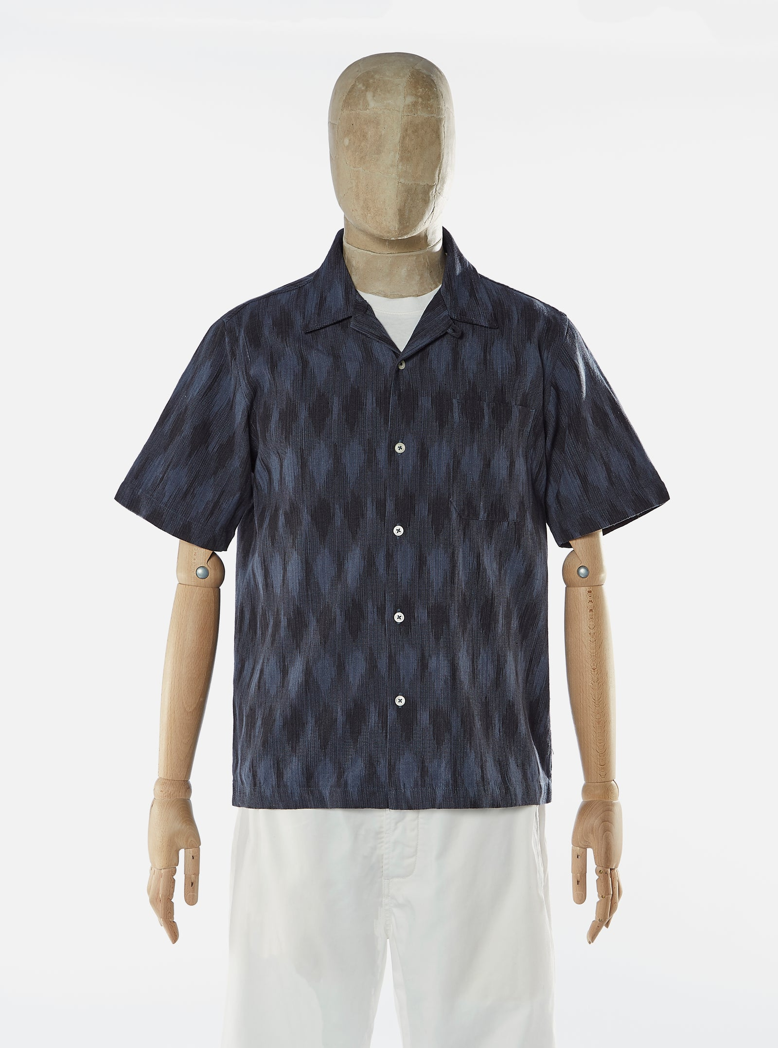 Universal Works Road Shirt in JQ Indigo Handloom Ikat