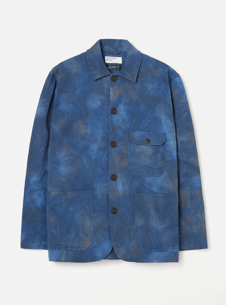 Universal Works Norfolk Bakers Jacket in Blue Space Dye Suiting