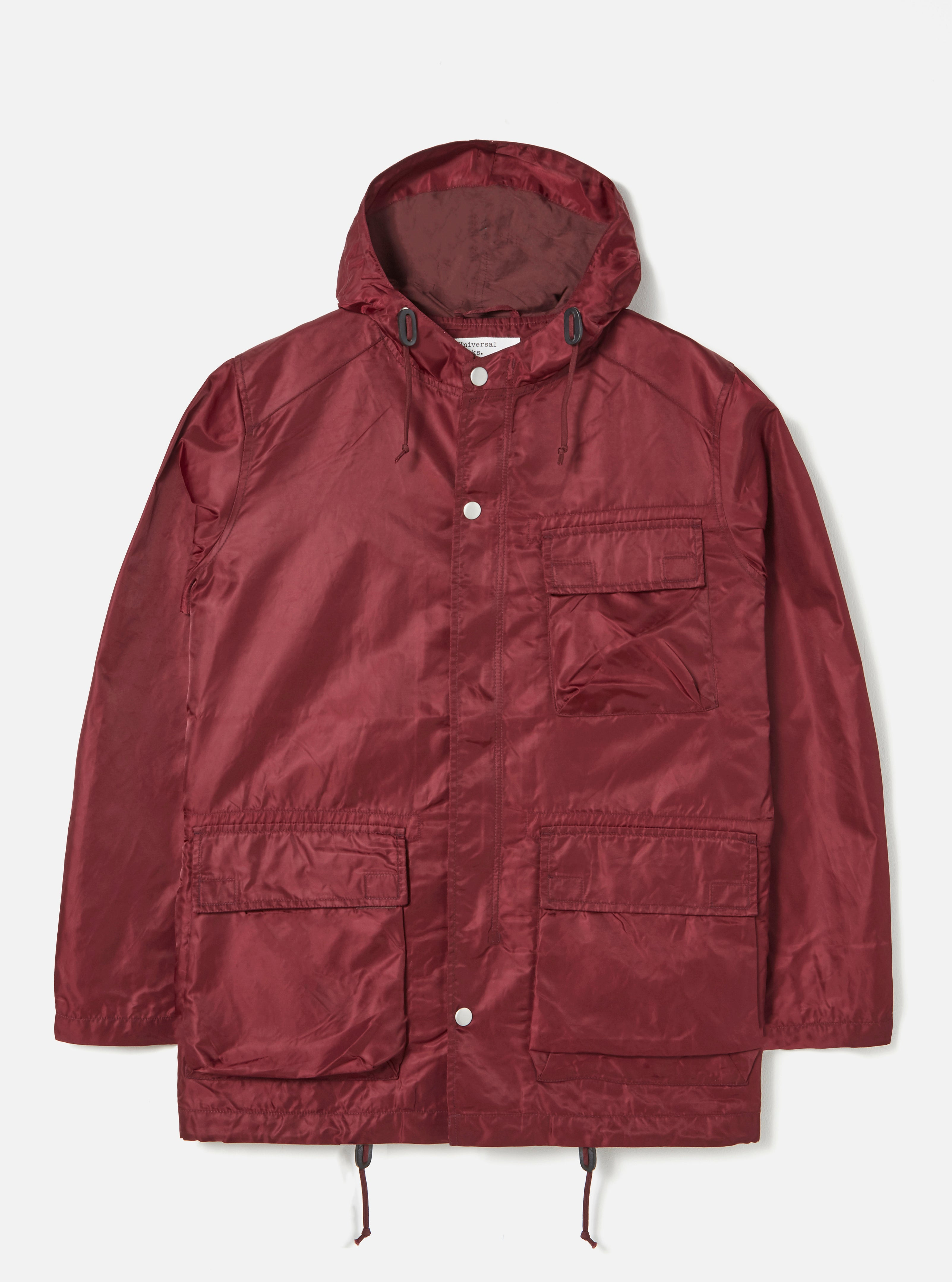 Universal Works NS Short Parka in Raisin Flight Nylon