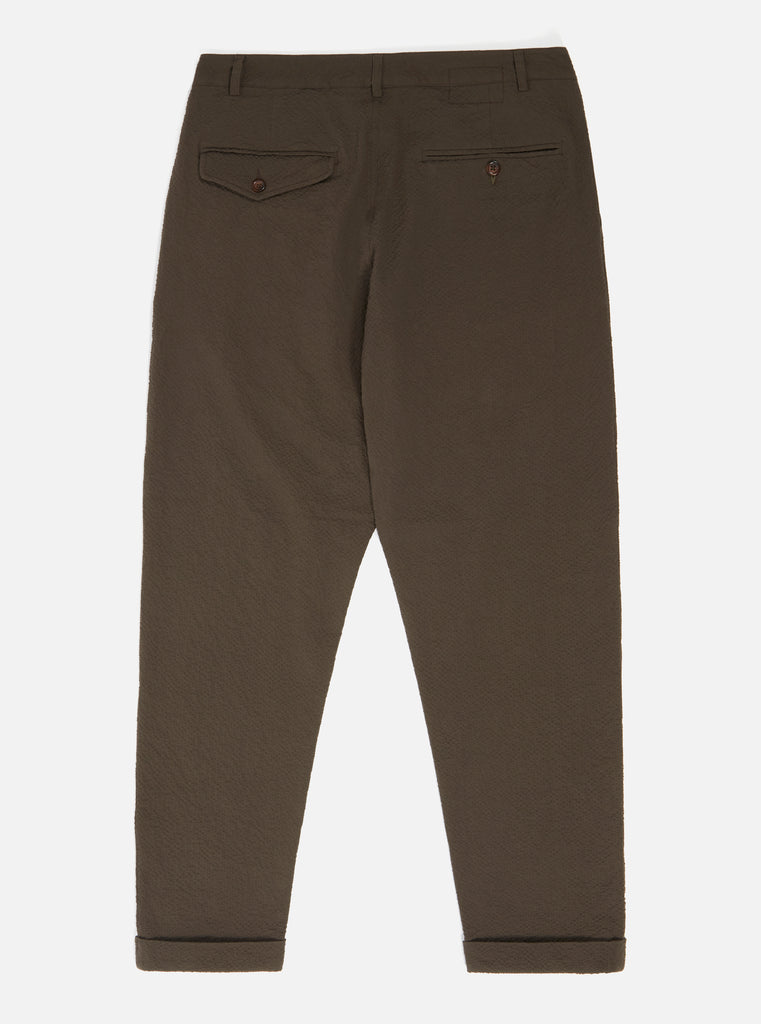 Universal Works Pleated Pant in Brown Seersucker