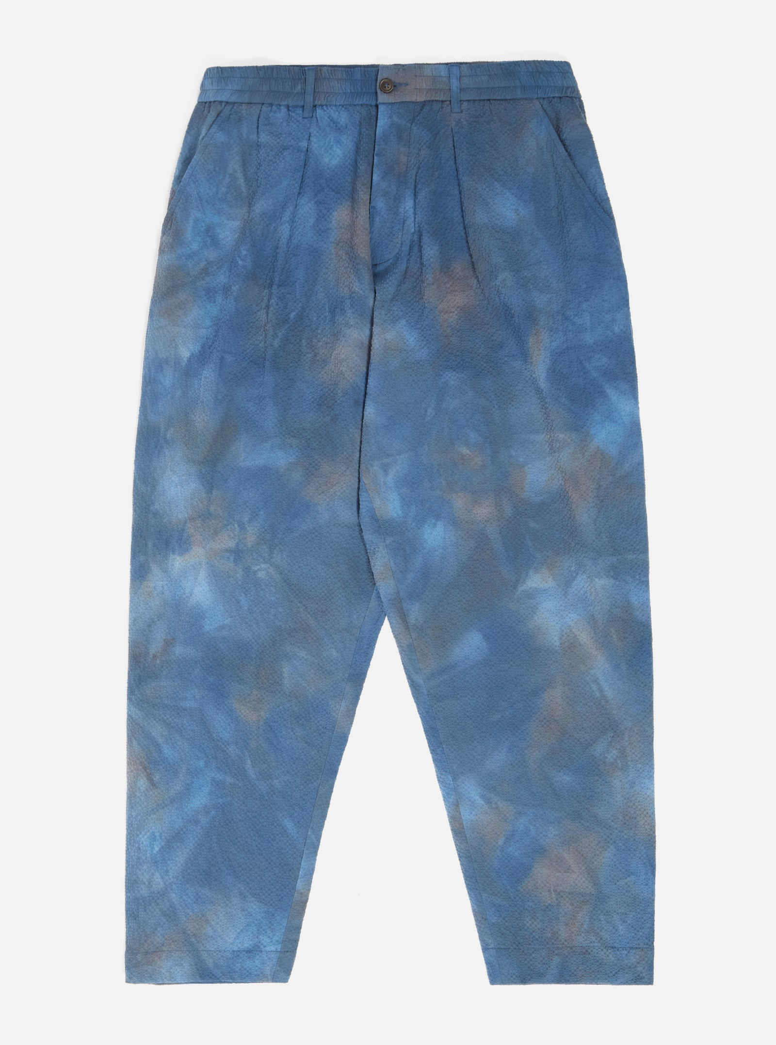 Universal Works Pleated Track Pant in Blue Space Dye Suiting