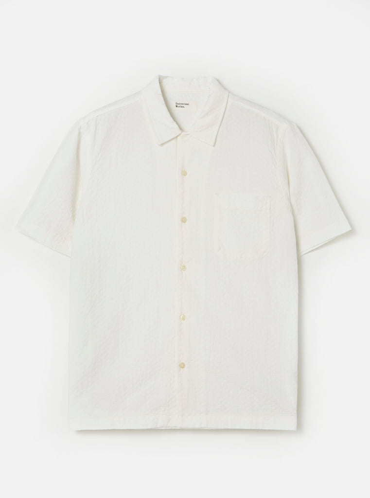 Universal Works Road Shirt in White Self Weave