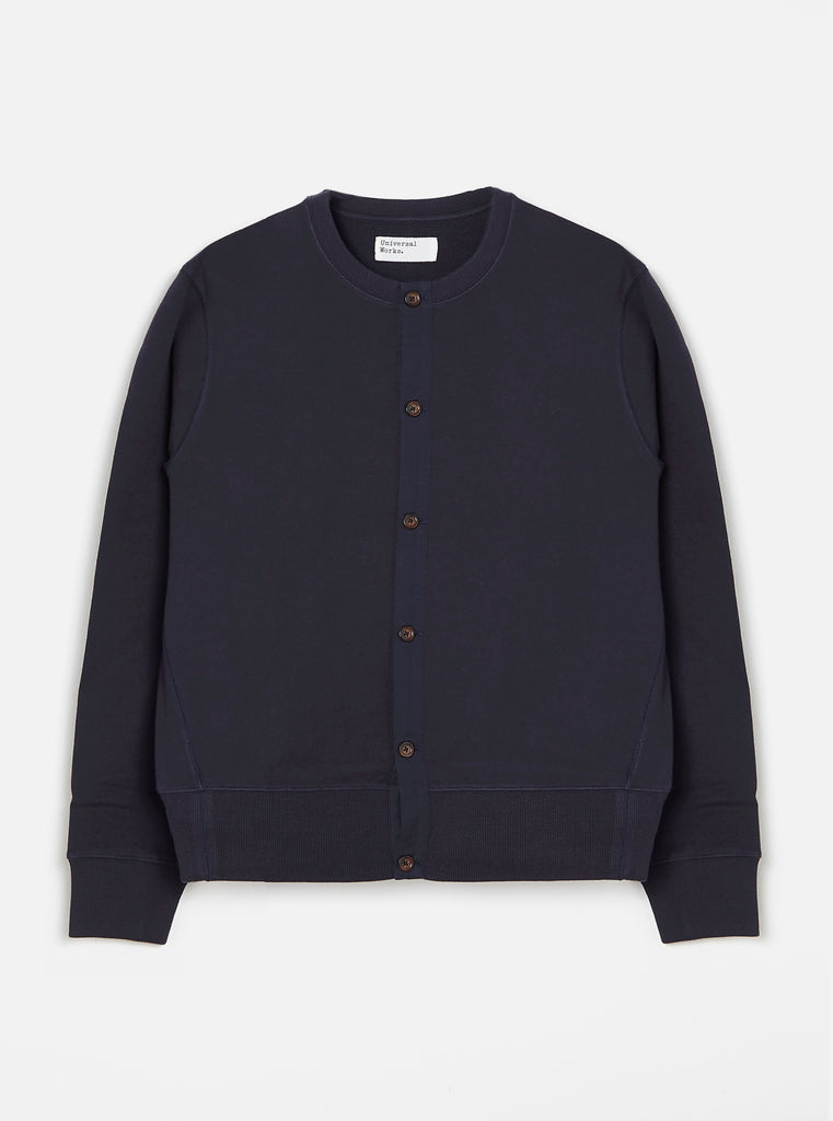 Universal Works Button Front Crew in Navy Loopback