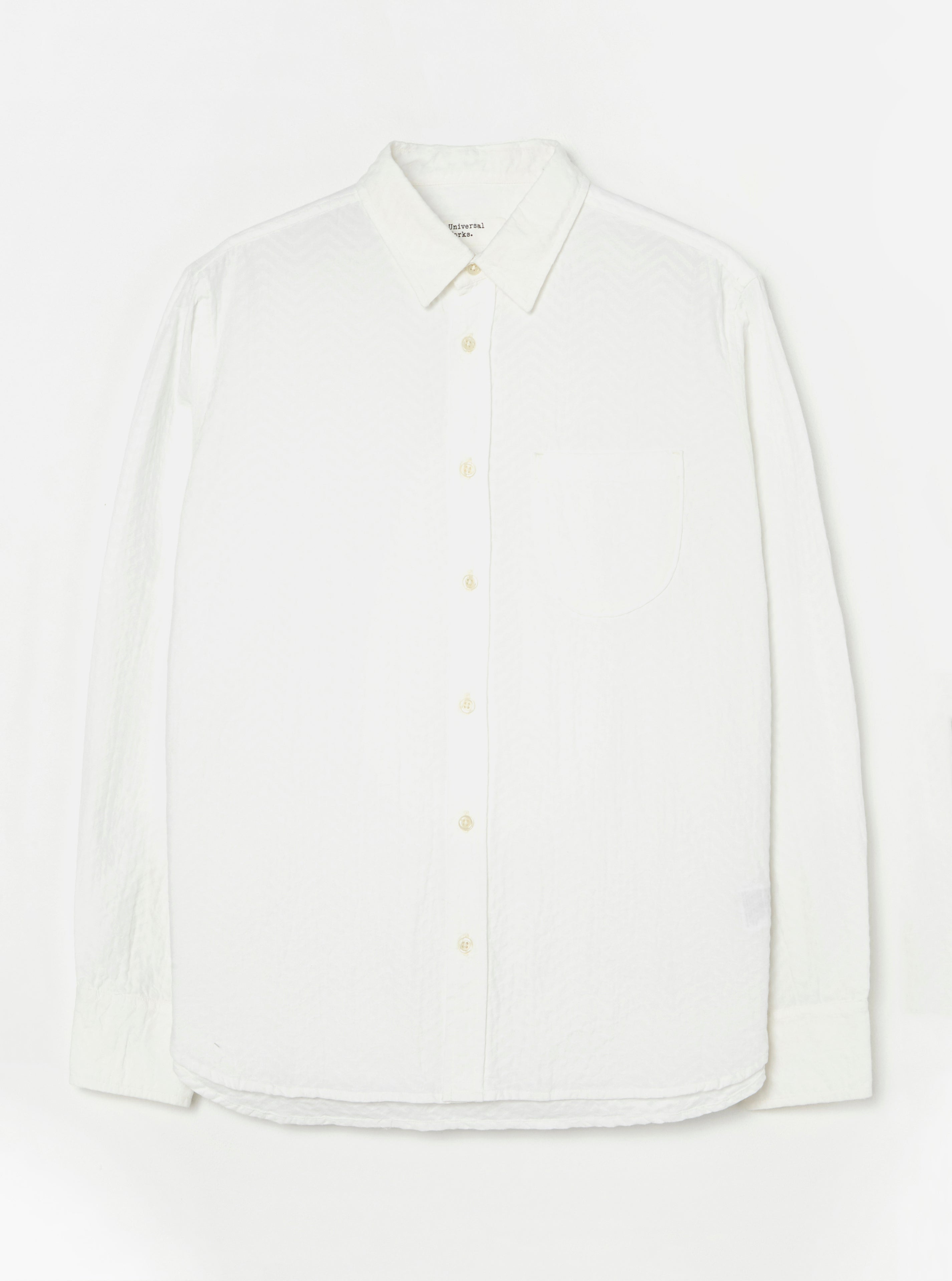 Universal Works New Standard Shirt in White Self Weave