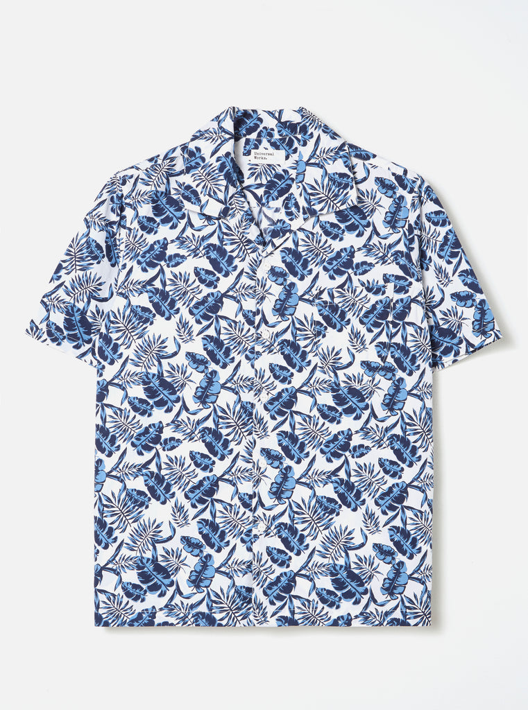 Universal Works Open Collar Shirt in Blue Japanese Flower