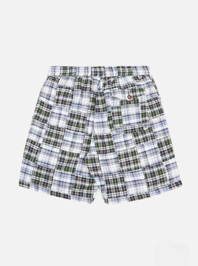 Universal Works Track Short in Blue Patchwork Madras