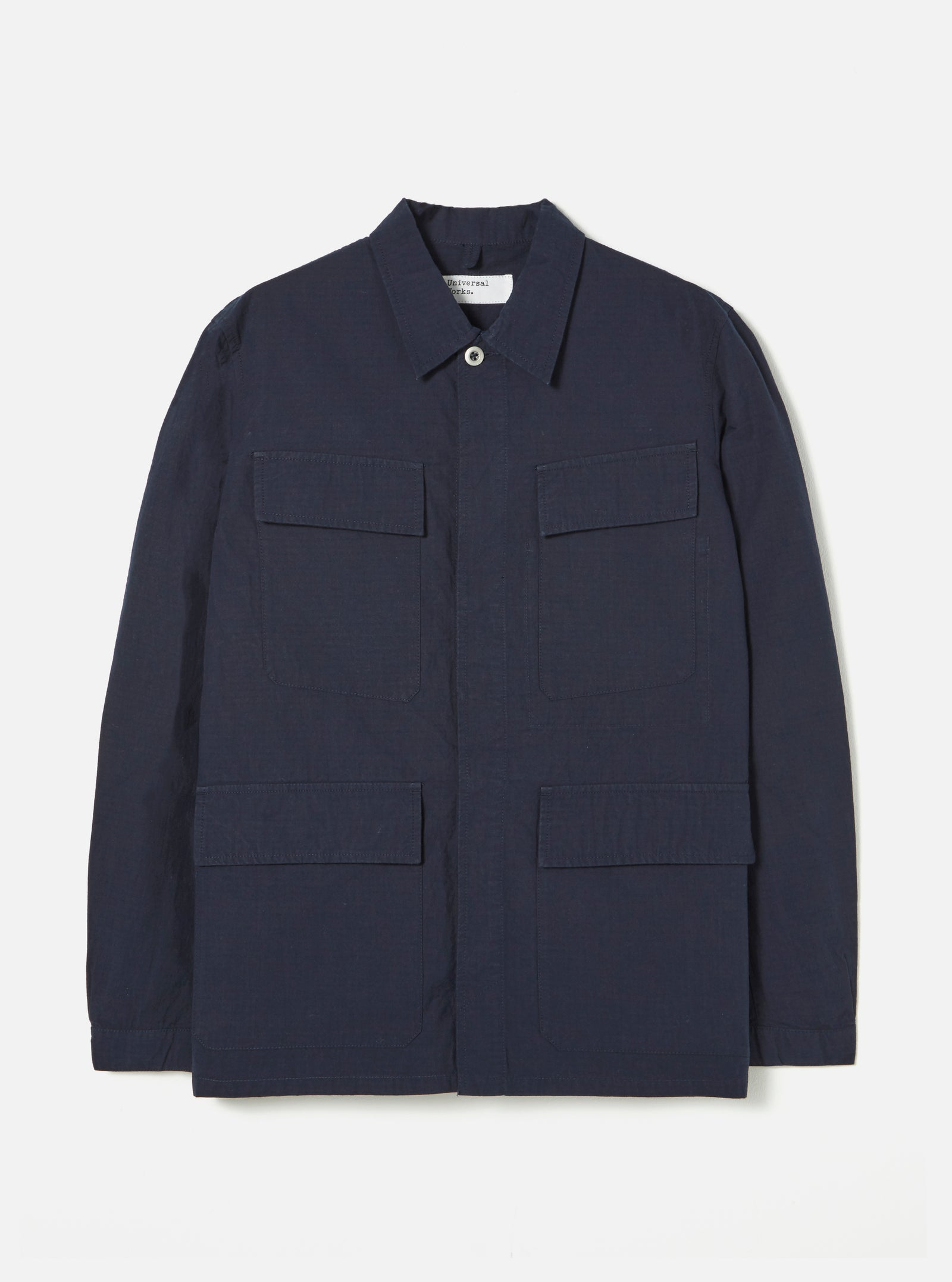 Universal Works MW Fatigue Jacket in Navy Ripstop Cotton