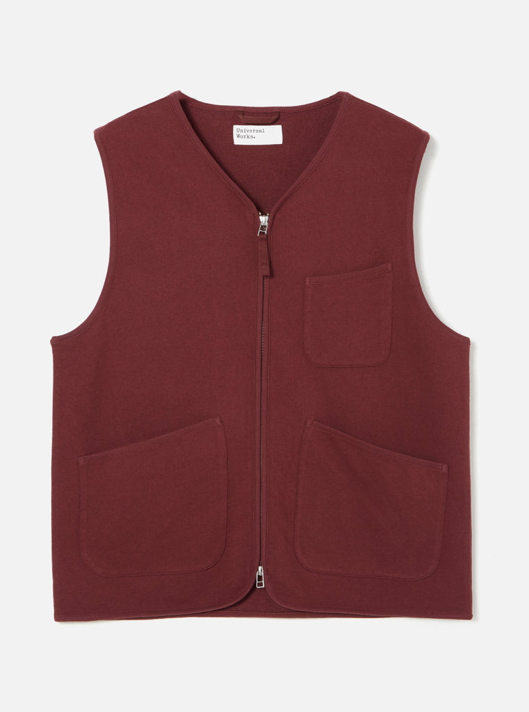 Universal Works Zip Gilet in Raisin Loopback