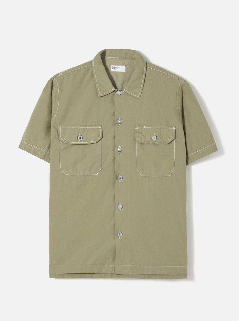 Universal Works Utility SS Shirt in Laurel Poplin