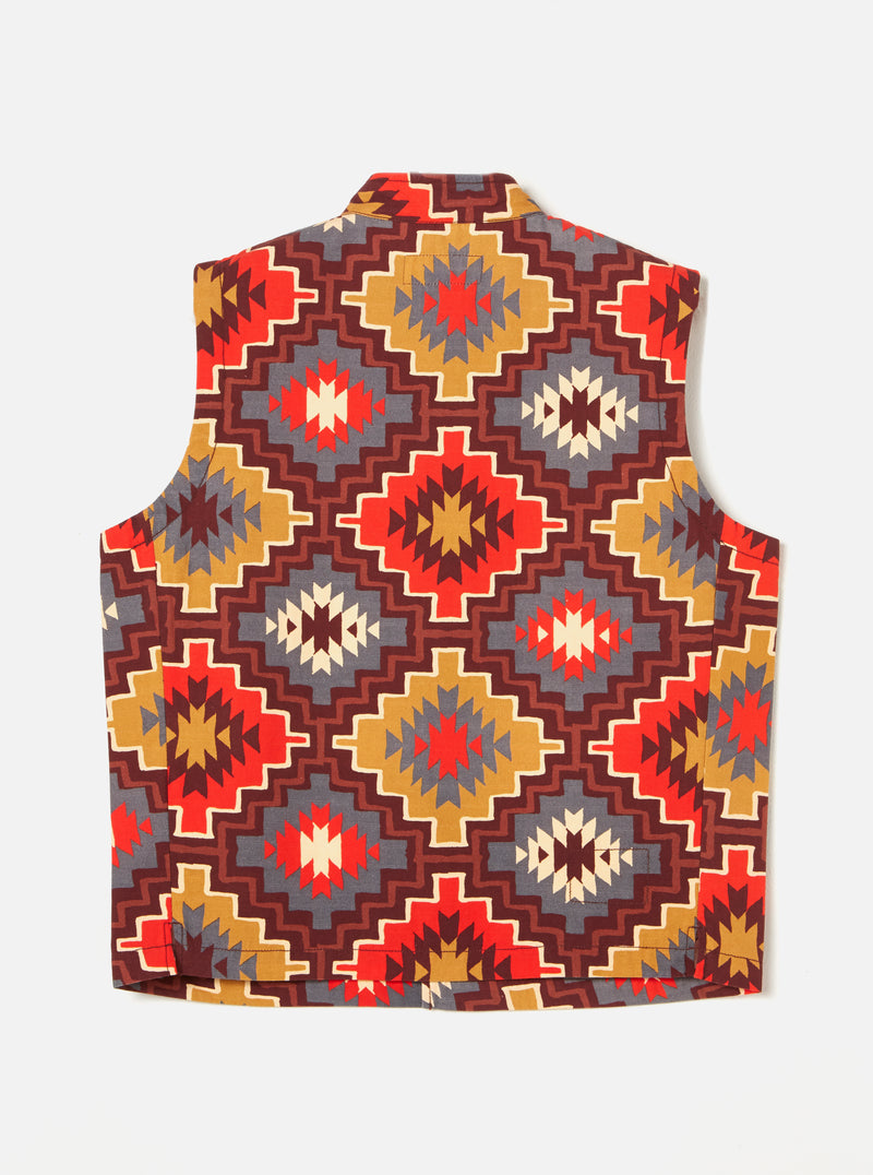 Universal Works Battle Waistcoat in Brown Santa Fe Canvas