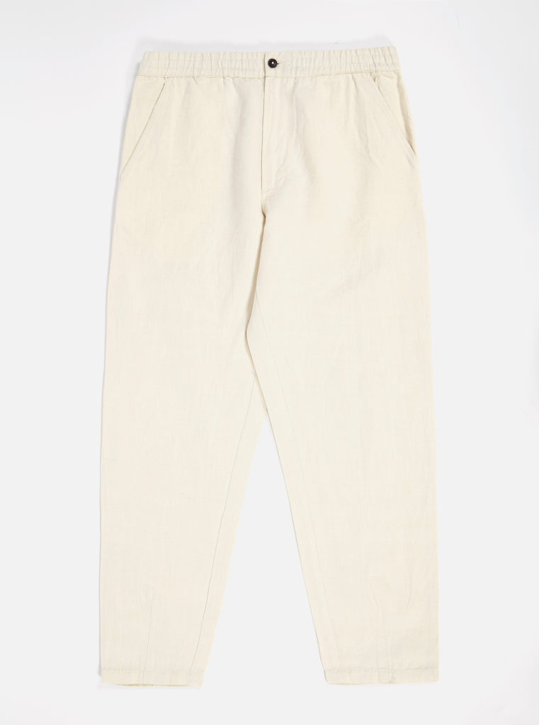 Universal Works Track Trouser in Ecru Linen Mix Twill