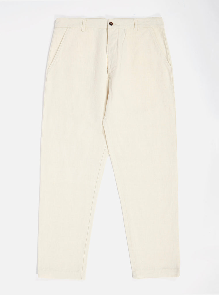 Universal Works Military Chino in Ecru Linen Mix Twill