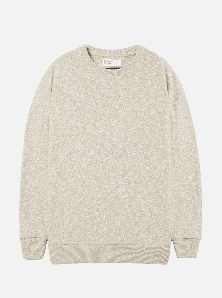 Universal Works Oversized Sweater in Ecru Loopback Lincot Knit