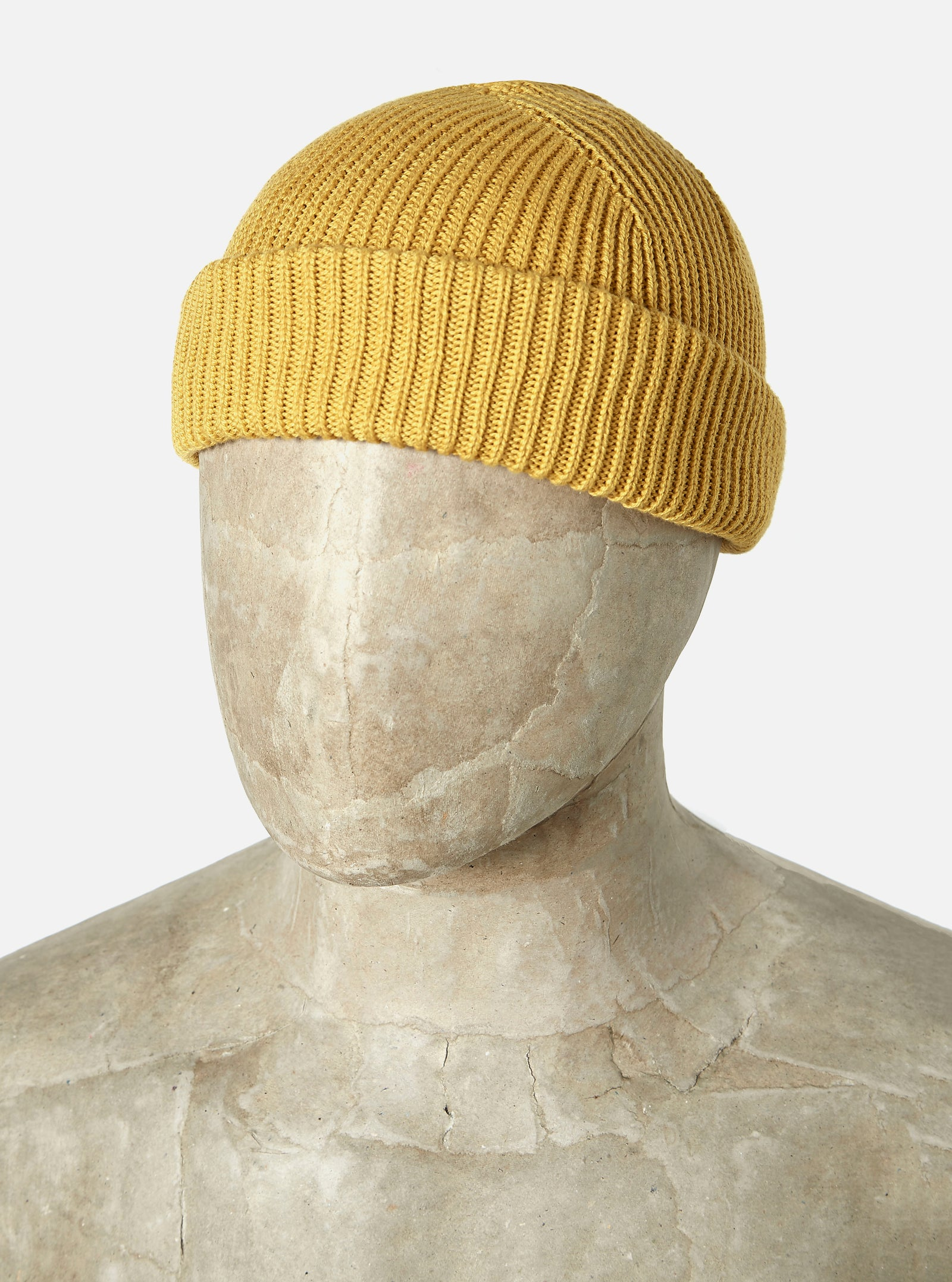 Universal Works Watch Cap in Mustard Cotton Knit