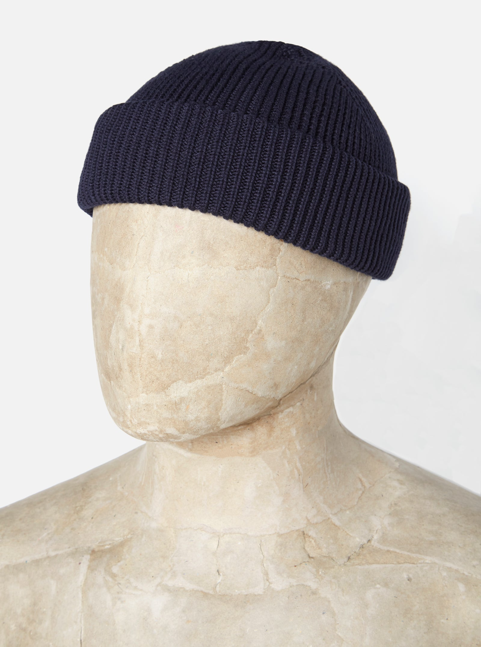Universal Works Watch Cap in Navy Cotton Knit