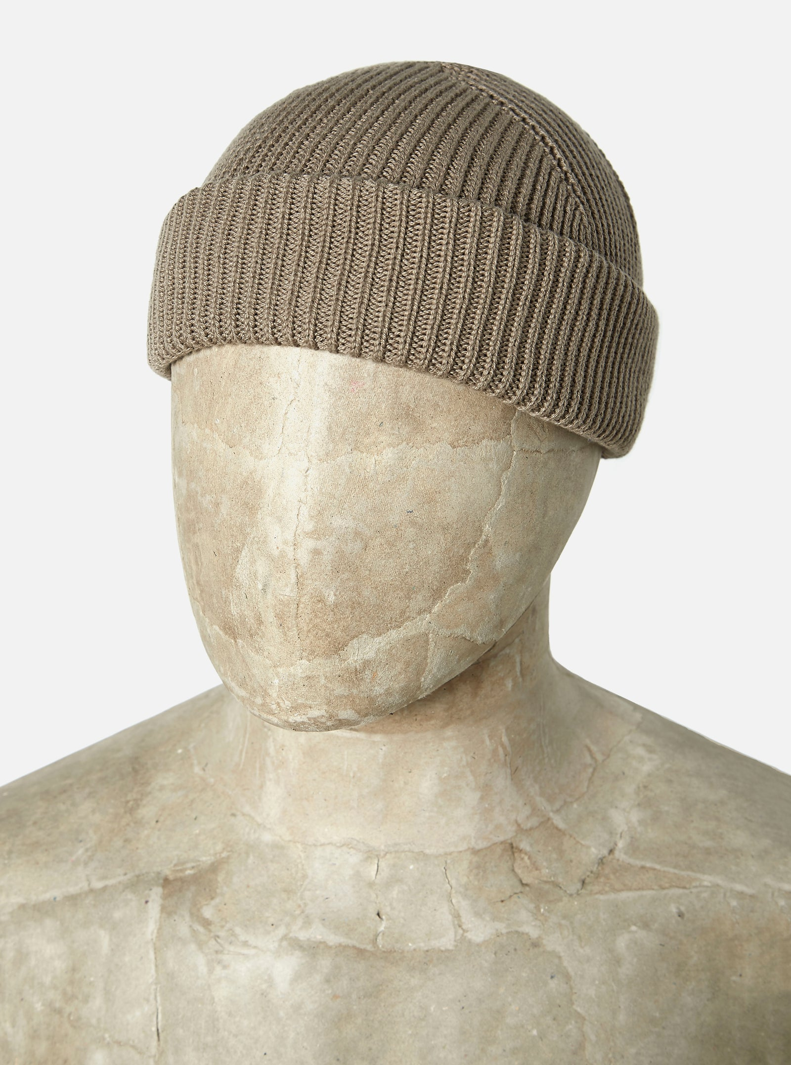 Universal Works Watch Cap in Taupe Cotton Knit