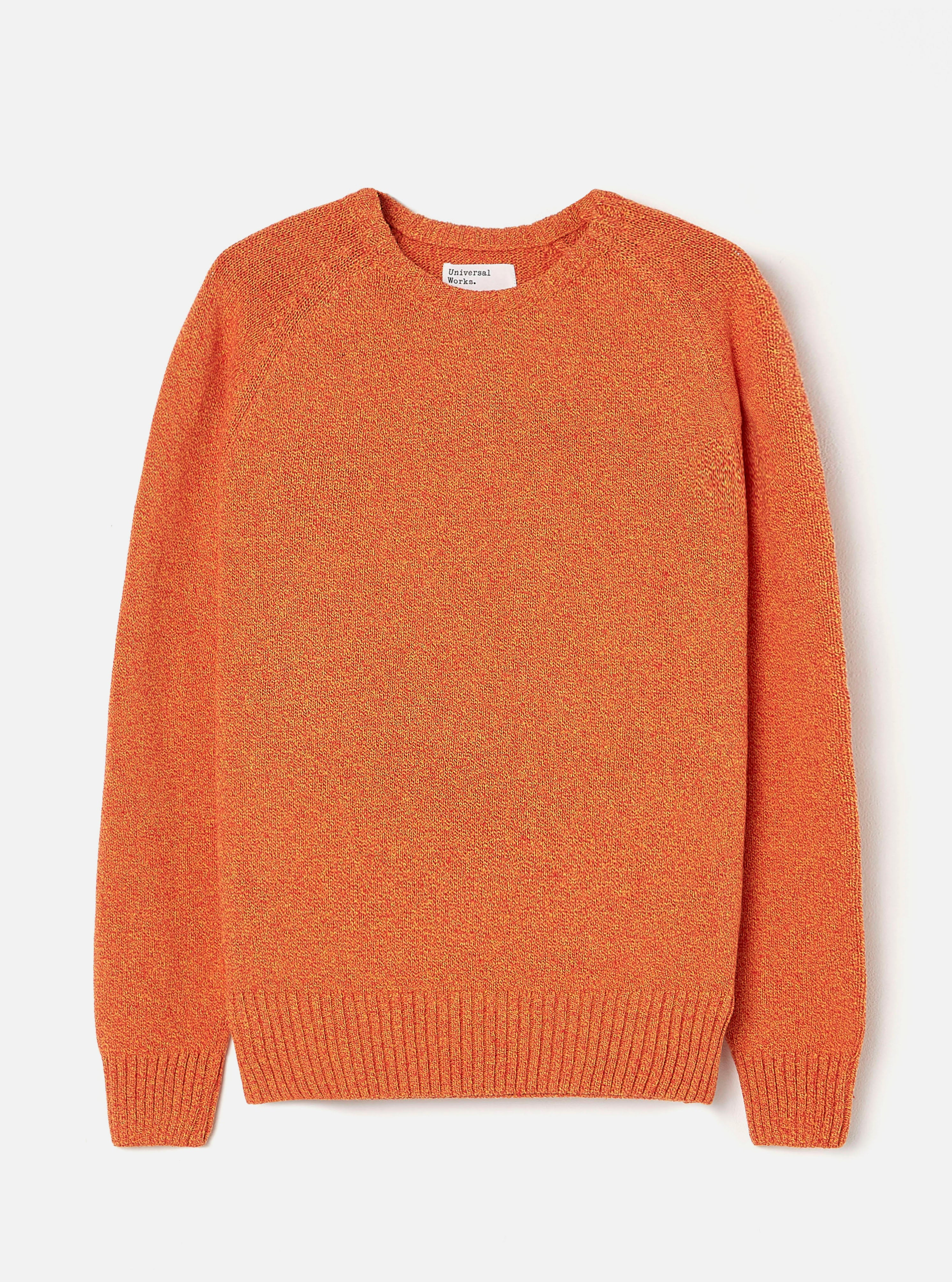 Universal Works Light Crew in Orange Eco Cotton Knit