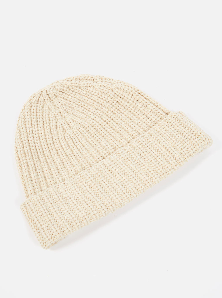 Universal Works Watch Cap in Sand Eco Cotton Rib