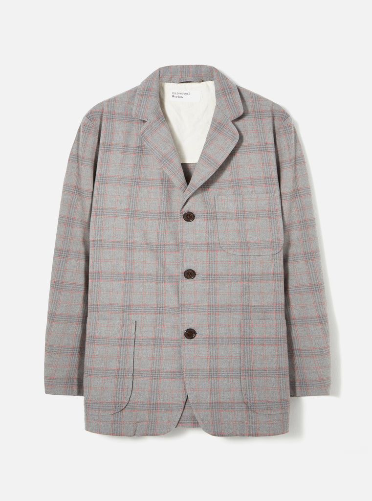 Universal Works Three Button Jacket in Grey Cotton Check Suiting