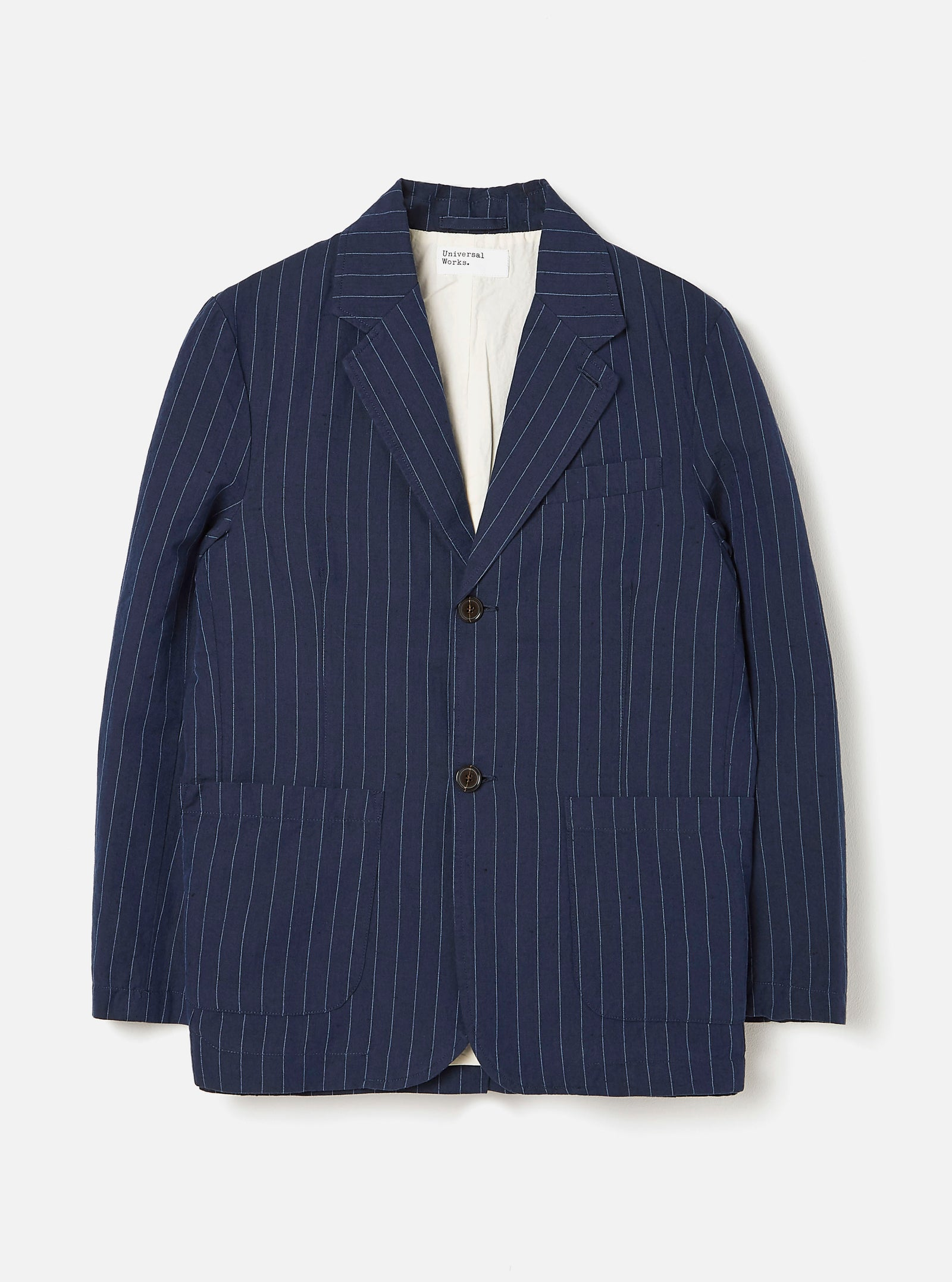 Universal Works Two Button Jacket in Navy Linen Cotton Stripe