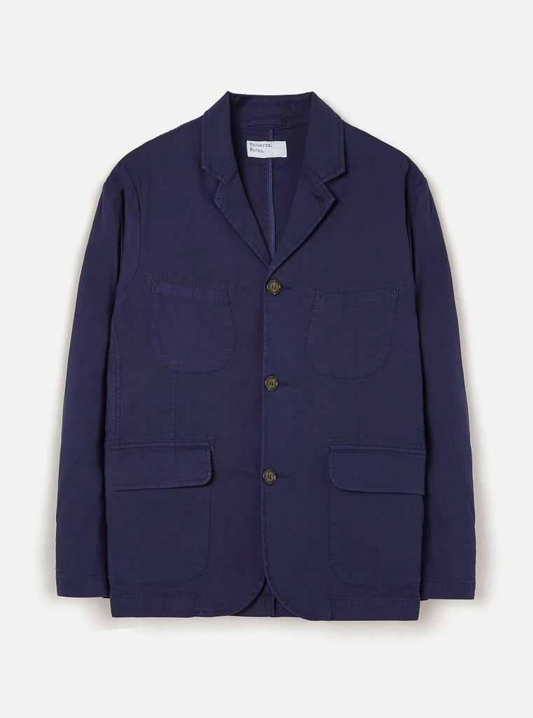 Universal Works Barra Jacket in Navy Fine Weave Cotton
