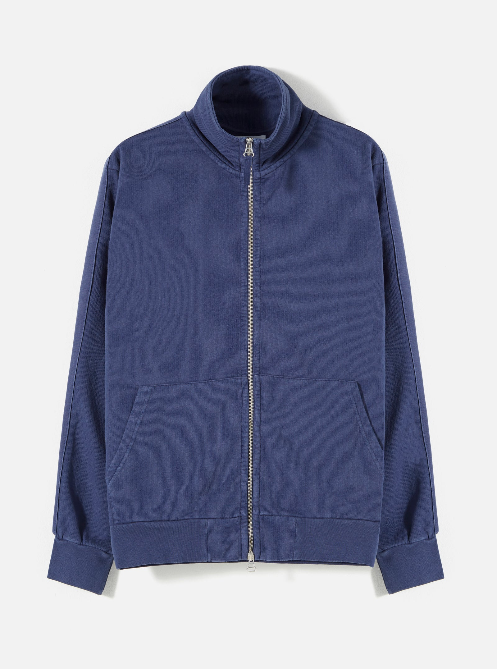 Universal Works Zip Through Sweat Jacket in Navy Dry Handle Loopback