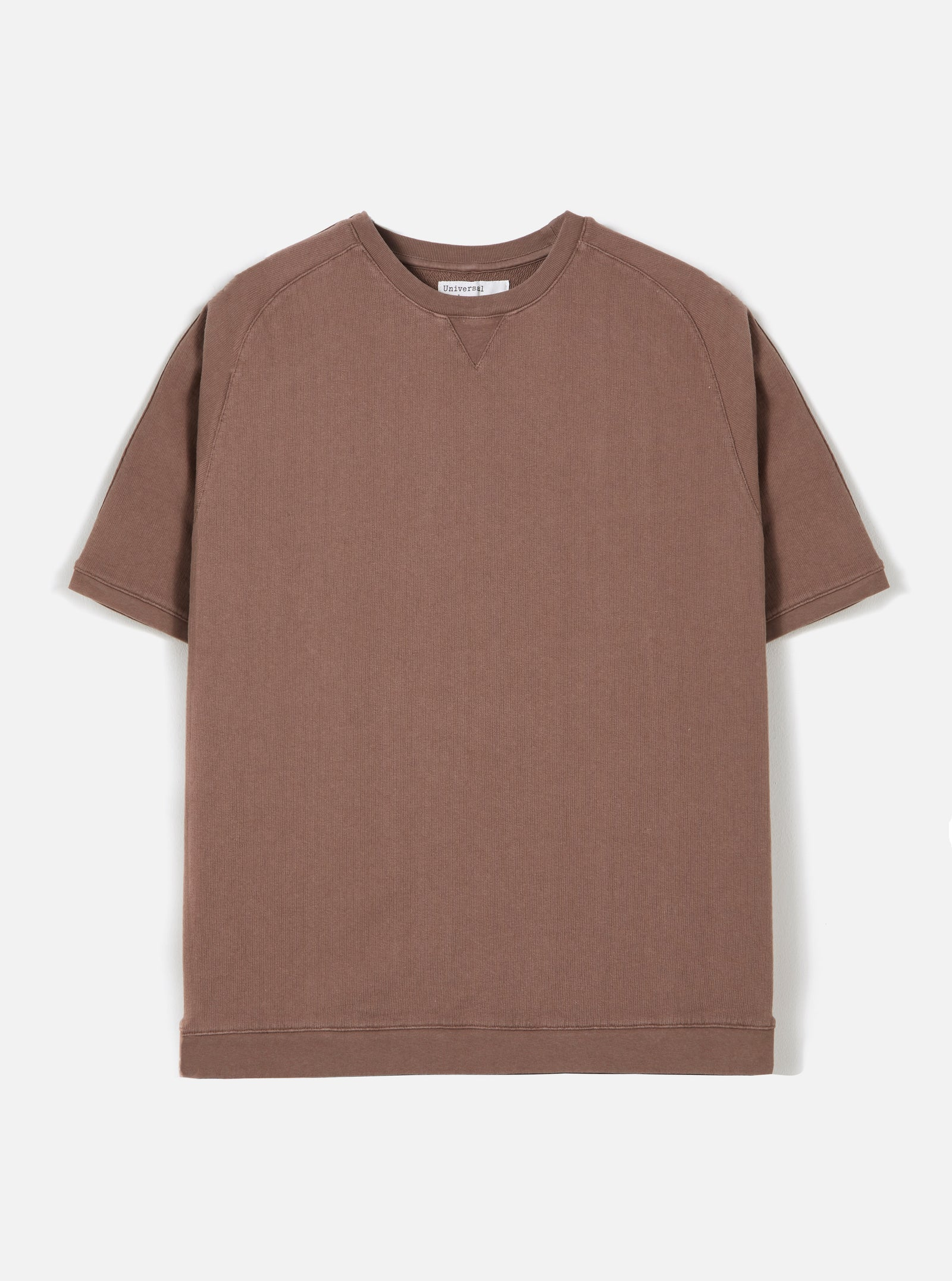 Universal Works Short Sleeve Crew in Raisin Dry Handle Loopback
