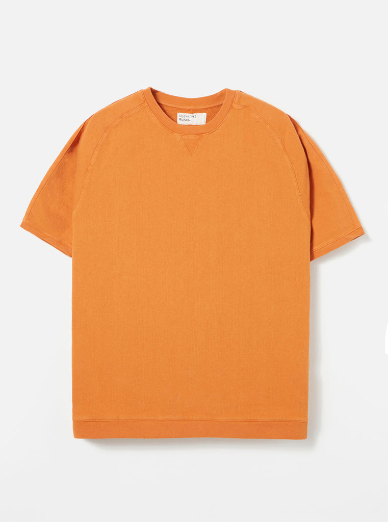 Universal Works Short Sleeve Crew in Orange Dry Handle Loopback