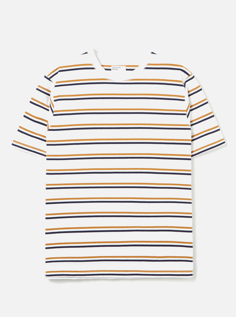 Universal Works Loose Tee in Ecru Narrow Stripe Jersey