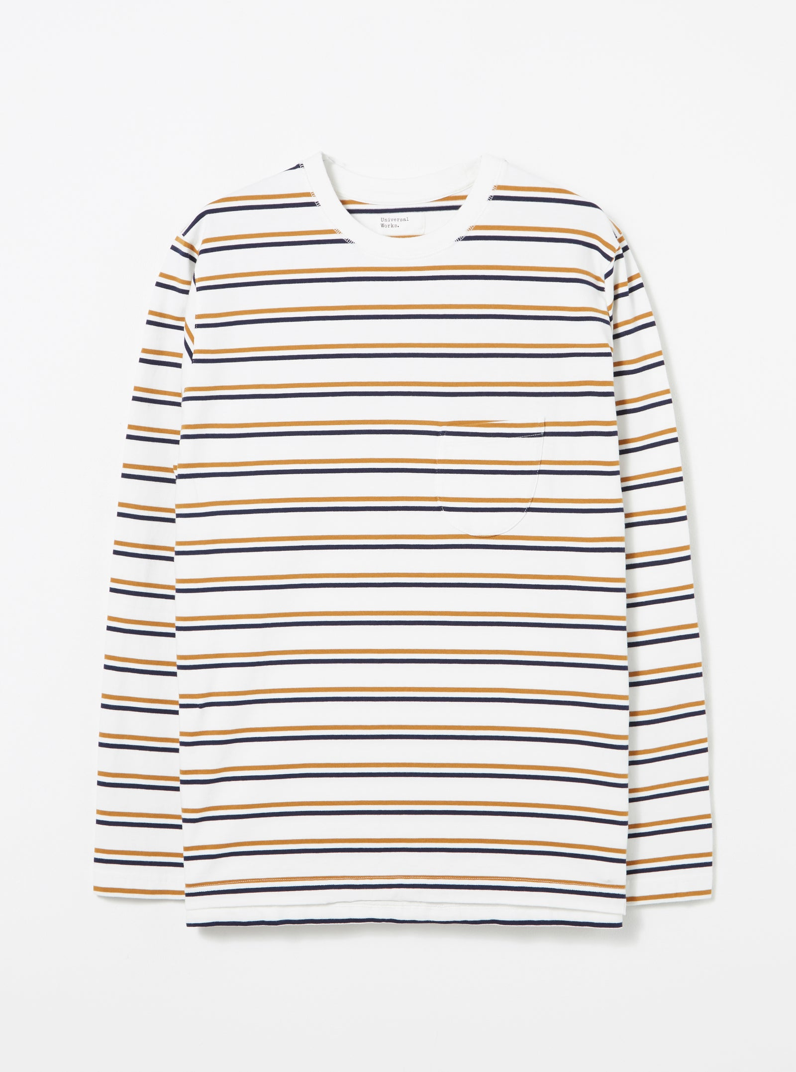 Universal Works L/S Tee in Ecru Narrow Stripe Jersey