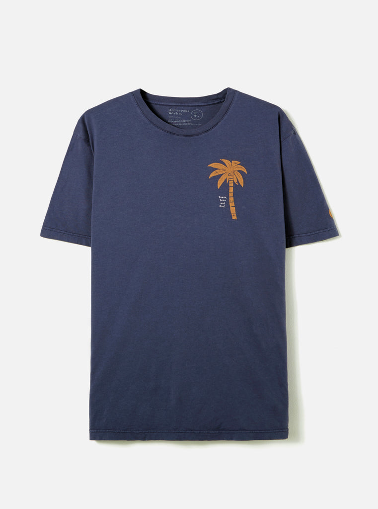 Universal Works Organic Tee in Navy Block Palm Jersey