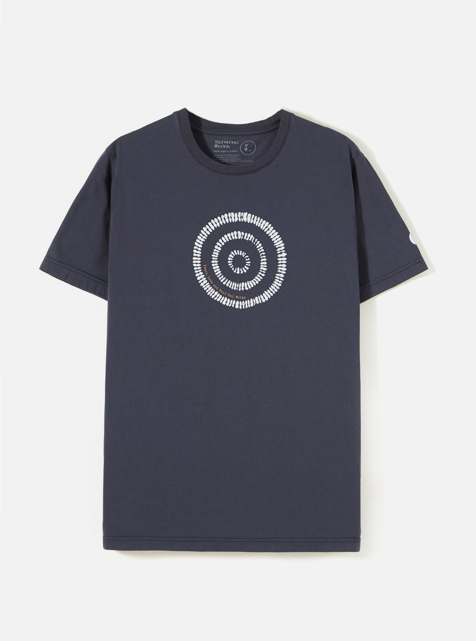 Universal Works Organic Tee in Navy Circle Print Jersey