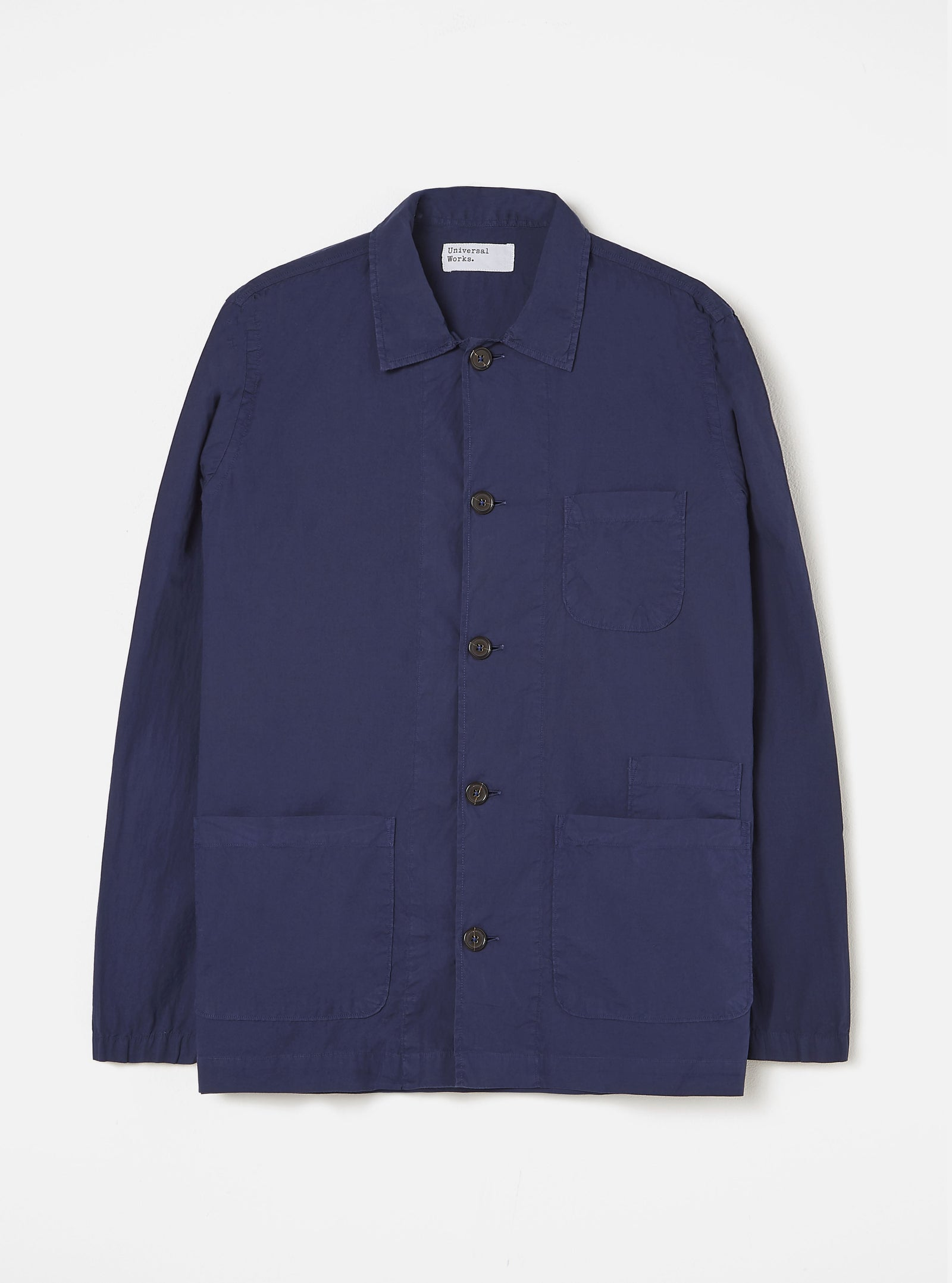 Universal Works Bakers Overshirt in Navy Poplin